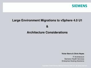 Large Environment Migrations to vSphere 4.0 U1 & Architecture Considerations