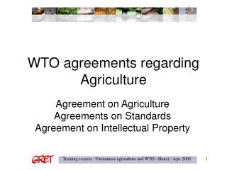 WTO agreements regarding Agriculture