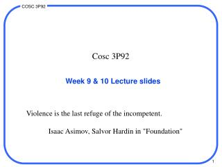 Week 9 & 10 Lecture slides