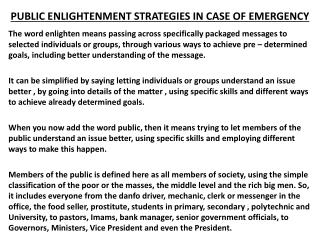 PUBLIC ENLIGHTENMENT STRATEGIES IN CASE OF EMERGENCY