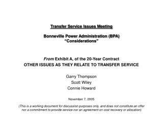 """Transfer Service Issues Meeting Bonneville Power Administration (BPA) """"Considerations"""""""