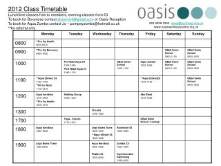 2012 Class Timetable Lunchtime classes free to members, evening classes from  3 To book for Boxercise contact alisoncivi
