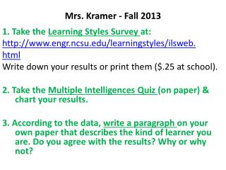 Mrs. Kramer -  Fall  2013