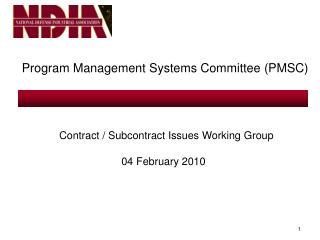 Program Management Systems Committee (PMSC)