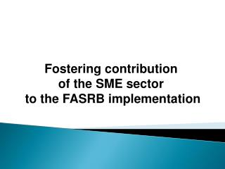 Fostering contribution  of the SME sector  to the FASRB implementation