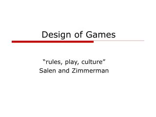 Design of Games