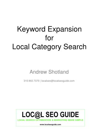 Keyword Expansion  for Local Category Search