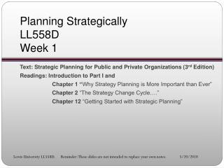 Planning Strategically LL558D Week 1