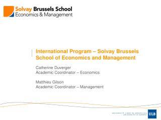 International Program – Solvay Brussels School of Economics and Management