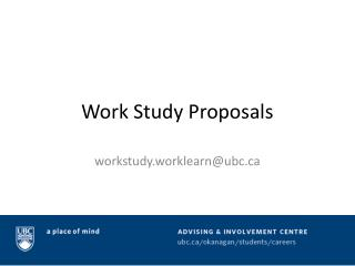 Work Study Proposals