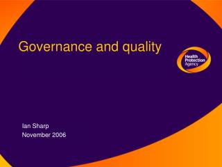 Governance and quality