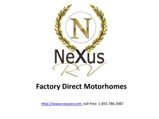 27 foot 27V Class B+ Motorhomes-NeXus RV- Factory Direct