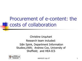 Procurement of e-content: the costs of collaboration