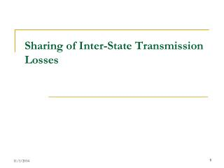 Sharing of Inter-State Transmission Losses