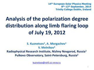 Analysis of the polarization degree distribution along limb flaring loop of July 19, 2012