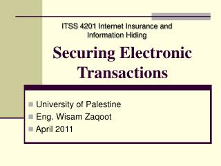 Securing Electronic Transactions