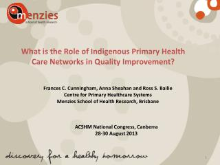 What is the Role of Indigenous Primary Health Care Networks in Quality Improvement?