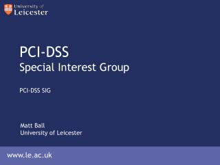 PCI-DSS Special Interest Group PCI-DSS SIG