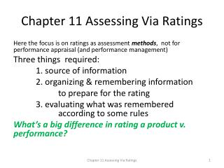 Chapter 11 Assessing Via Ratings
