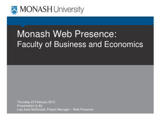 Monash Web Presence: Faculty of Business and Economics