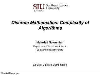 Discrete Mathematics:  Complexity of Algorithms