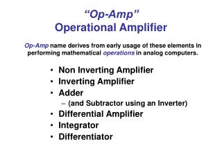 """Op-Amp"" Operational Amplifier"
