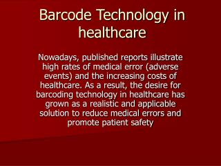 Barcode Technology in healthcare