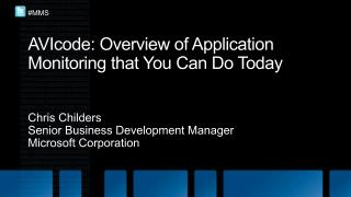 AVIcode : Overview of Application Monitoring that You Can Do Today