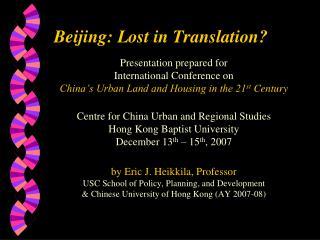 Beijing: Lost in Translation?