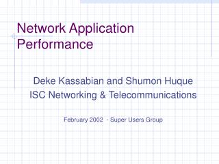 Network Application Performance
