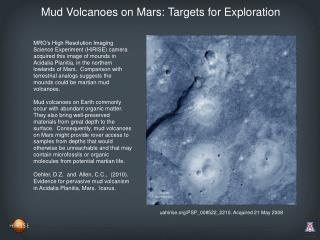 Mud Volcanoes on Mars: Targets for Exploration