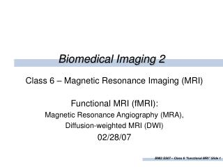 Biomedical Imaging 2