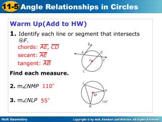 Warm Up(Add to HW) 1. Identify each line or segment that intersects  ? F . Find each measure.