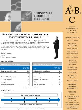A 2 +B TOP DEALMAKERS IN SCOTLAND FOR THE FOURTH YEAR RUNNING