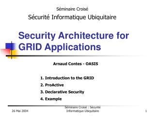 Security Architecture for GRID Applications