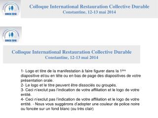 Colloque International Restauration Collective Durable Constantine, 12-13 mai 2014