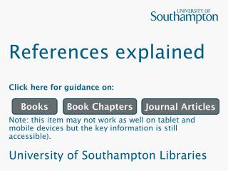References explained Click here for guidance on: