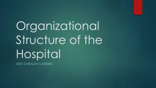 Organizational Structure of the Hospital