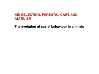 KIN SELECTION, PARENTAL CARE AND ALTRUISM The evolution of social behaviour in animals
