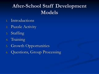 After-School Staff Development Models