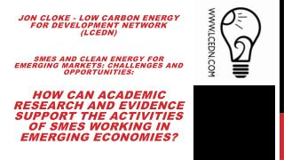 Jon  Cloke  - Low Carbon Energy for Development Network (LCEDN)