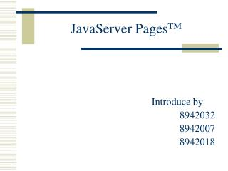 JavaServer Pages TM