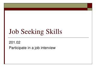 Job Seeking Skills