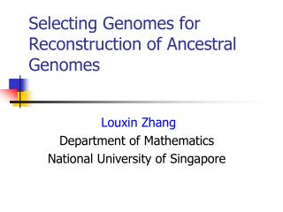 Selecting Genomes for Reconstruction of  A ncestral Genomes