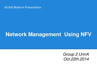 Network Management  Using NFV