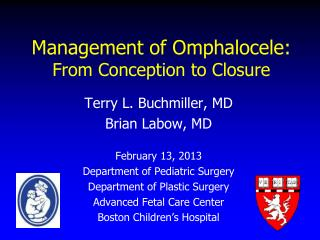 Management of Omphalocele: From Conception to Closure