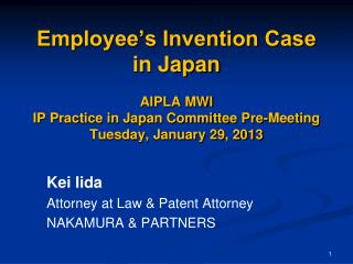 Kei Iida Attorney at Law & Patent Attorney NAKAMURA & PARTNERS