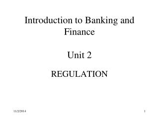 Introduction to Banking and Finance Unit 2