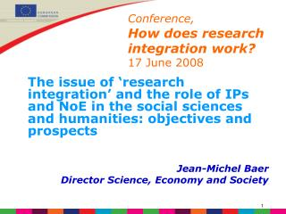 Conference, How does research integration work? 17 June 2008