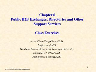 Chapter 6 Public B2B Exchanges, Directories and Other Support Services Class Exercises